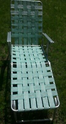 Vintage Aluminum Folding Lawn Chaise Lounge Chair Webbing