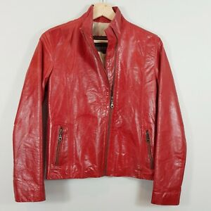 [ SILVIA Y MARIO ] Womens Red Leather Zip up Jacket | Size S or AU 10 / US 6
