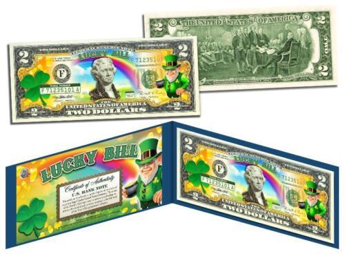 Leprechaun St Patrick/'s Day LUCKY BILL Colorized $2 US Genuine Legal Tender