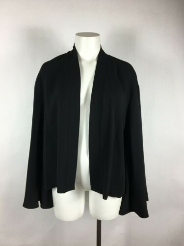 HARARI Black Silk Open-Front Jacket with Bell Slee