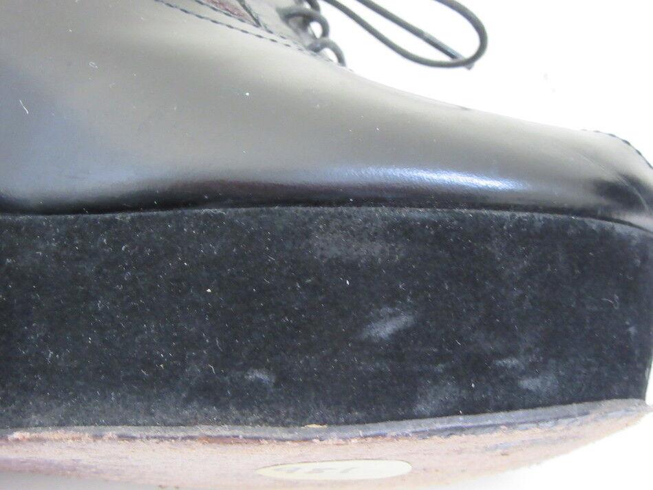 ROCHAS schwarz schwarz schwarz LEATHER AND SUEDE PLATFORM PEEP TOE WEDGES SZ 38 US 7.5 f87bc1