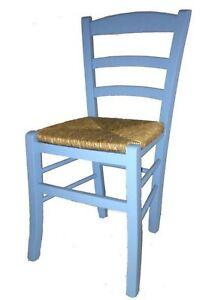 Dettagli su sedia sedie laccata azzurra legno faggio seduta paglia casa ristorante cucina