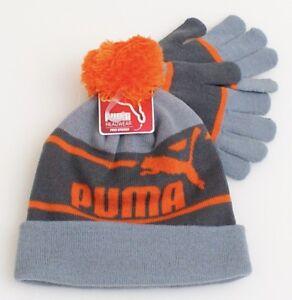 ae28f2baa Puma Orange   Gray Knit Cuff Pom Beanie   Stretch Gloves Youth Boy s ...