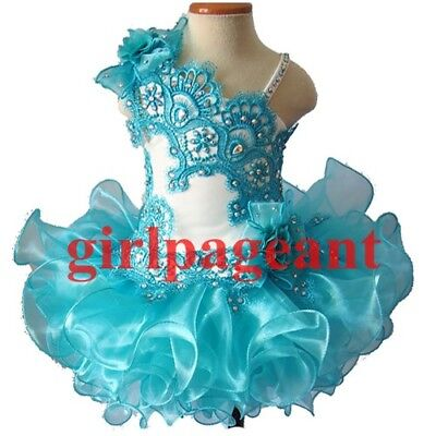 Infant//toddler//baby Gliz Crystals Floral Lace Bow Pageant Dress G003