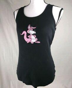 VANS-Women-039-s-Black-Ribbed-Tank-Top-Sz-Large-Pink-Kangaroo