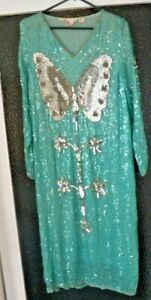 Unique-Vtg-Women-039-s-Thums-Up-Turquoise-Sequin-Butterfly-Evening-Dress-Size-Med