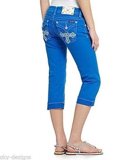 Miss Me Crop Jeans Women's Capri Cuff True bluee Denim Jeans New Sz 25 26