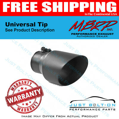 MBRP T5125BLK Black Finish 5 Inlet 18 Length 6 Outer Diameter Angled Rolled End Exhaust Tip
