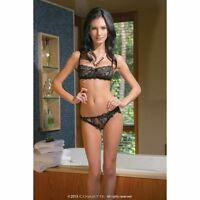 Coquette Floral Print Lace Demi Bra And Thong Set - Authentic -