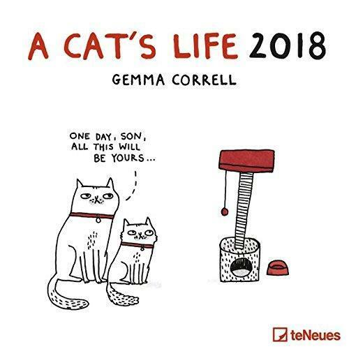 A CATS LIFE 2018 SQUARE WALL CALENDAR NEW /& FACTORY SEALED BY TENEUES