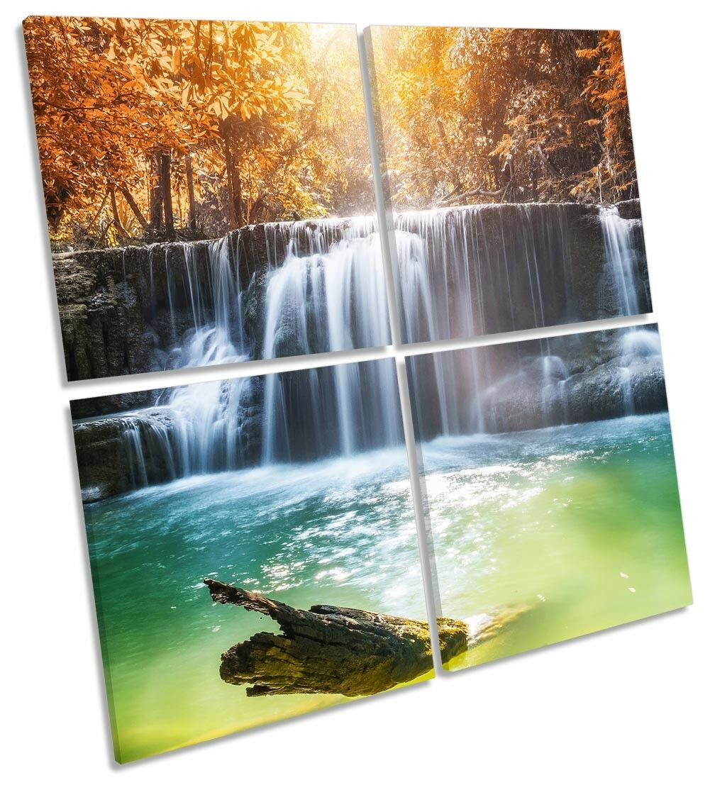 Waterfall Sunset Orange Picture MULTI CANVAS WALL ART Square