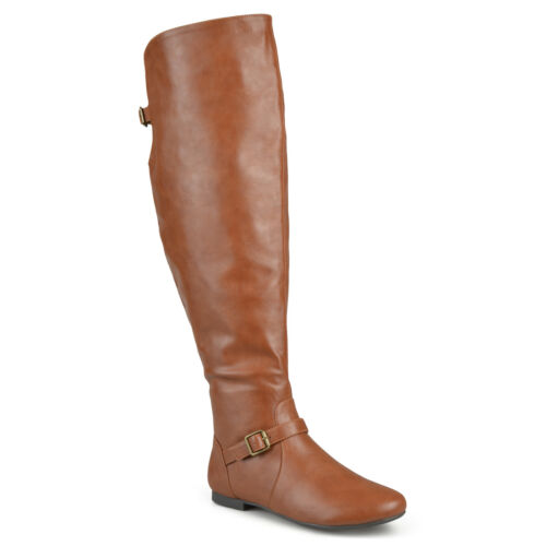 Brinley Co Womens Wide Calf Buckle Tall Round Toe Riding Boots New