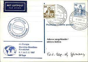 Courageux Schiffspost Navire Ms Europe Maroc-brasieln Croisière Divers Cachet 1987-ln Kreuzfahrt Diverse Stempel 1987fr-fr Afficher Le Titre D'origine