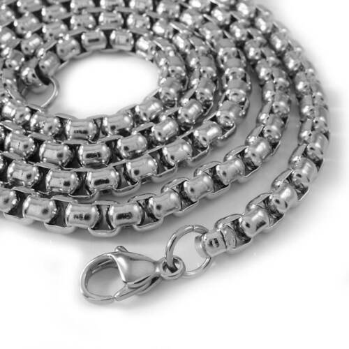 18K IP White Gold Round BOX CHAIN 316L Stainless Steel Silver Link Mens Necklace