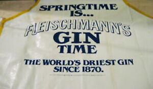 """Vintage 1970s Fleischmann's Gin 31"""" Vinyl Bar Apron Unworn In Sealed Package"""