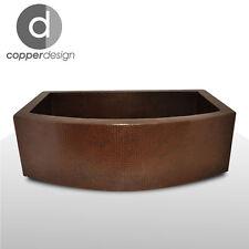 """Hand Hammered Copper Round Apron Farmhouse Kitchen Sink 33""""x22"""""""