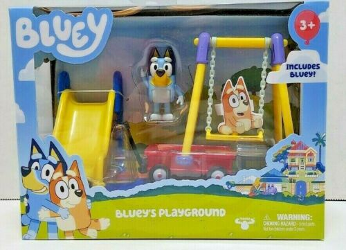 Bluey Bluey/'s Playground Mini Figurines Playset Swing Slide Wagon Disney Jr New