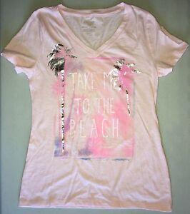 0c2c4af8567 Ladies Sonoma V-Neck Everyday Short Sleeve Shirt Size XS Pink w Palm ...