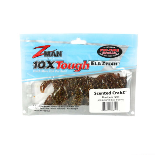 3113 Zman Soft Lure Scented CrabZ 3 Inch 5 per pack Rootbeer Gold