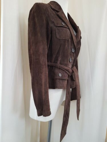 Belted Ladies Chocolate 14 Bay Suede Size Brown Jacket From qq7tzg
