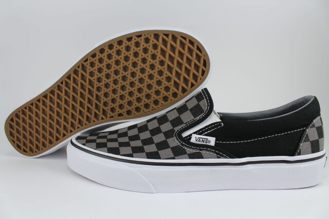 ffe682b75ff VANS CLASSIC SLIP-ON CHECKERBOARD BLACK/PEWTER GRAY CHECKER CHECK MEN WOMEN  SIZE for sale online