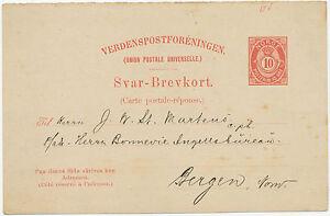 NORWEGEN-1890-10-O-Pra-Auslands-GA-Postkarte-seltene-Antwortteil-nach-BERGEN