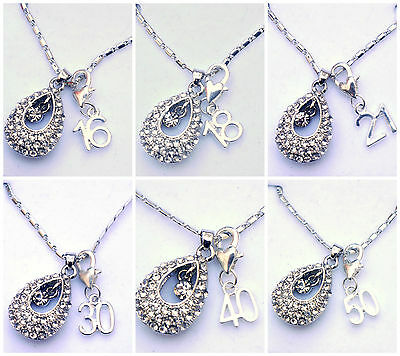 PERSONALISED HAPPY BIRTHDAY 16TH/18TH/21ST/30TH/40TH/50TH NECKLACE PENDANT BOX