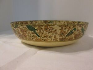 """Viking 1960's Vintage Painted Birds Paper Mache Alcohol Proof 9"""" Bowl Very Clean"""