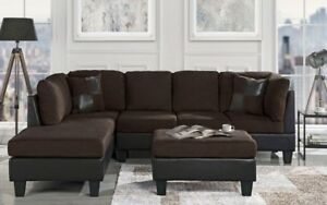 Classic Brown Microfiber/Faux Leather 3-Piece Sectional Sofa Set ...