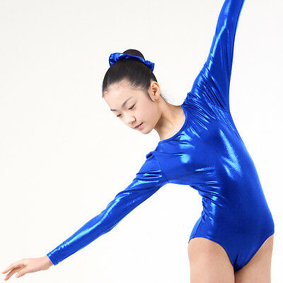KYoon's Gymnastics Leotard New Solid Foil 4way Long Sleeve Child Adult Royalblue