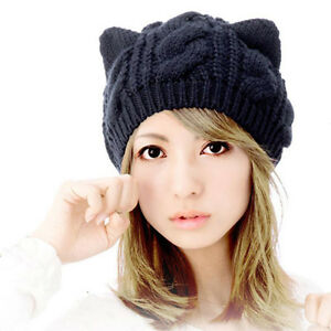 c9d12d024afe6 Women Winter Beanie Devil Horns Cat Ear Crochet Braided Knit Ski ...