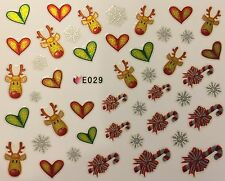 Nail Art 3D Decal Stickers Christmas Reindeer Candy Canes Rudolph Hearts E029