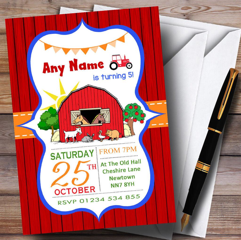 ROT Orange Blau Farm Animals Tractor Childrens Birthday Party Invitations 3e601d