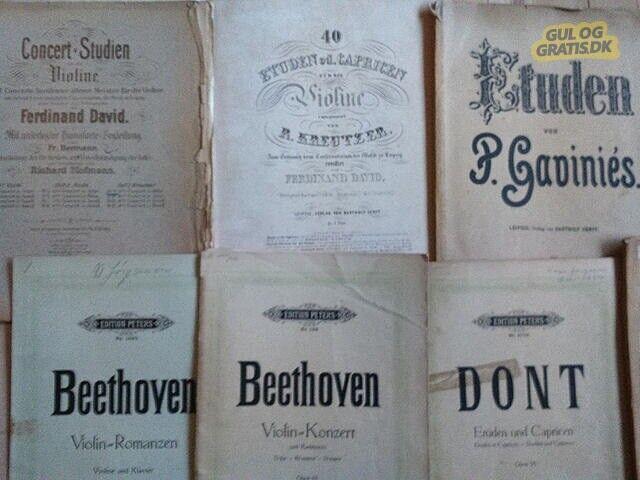 Violinnoder, Violinkoncerter, etuder og sonater