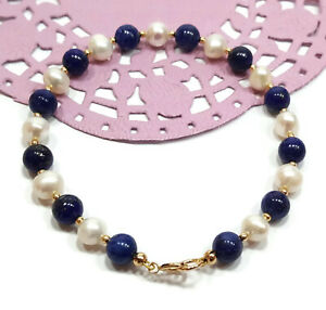 9ct-Gold-Bracelet-White-Pearl-and-Lapis-Lazuli-Gemstone-Beads-for-Her-or-Him