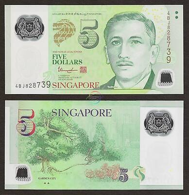 SINGAPORE 5 Dollars w//2 Triangle 2017 P-47 Polymer UNC Uncirculated