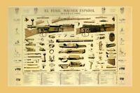 Mauser Espaniol 1893 Shotgun Firearm Art Poster 24in X 36in