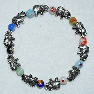 Colourful-Millefiori-Glass-Mix-Lucky-Elephants-Beaded-Fancy-Beaded-7-034-Bracelet