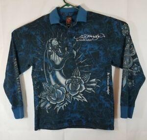f709d2281ba5 Ed Hardy Mens L New York City Blue polo Shirt Long Sleeve Skull ...