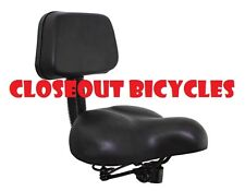 Bicycle Tricycle Cruiser Saddle Seat PU Cushion Pad With Back Rest Seat Black Us