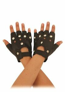 Black Biker Studded Leather Faux Fingerless Gloves Goth Punk Driving Cycling Gym