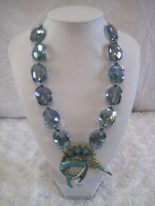 HEIDI-DAUS-034-Fantastic-Swordfish-034-Blue-Beaded-Fish-Necklace-Orig-189-95-LAST-ONE