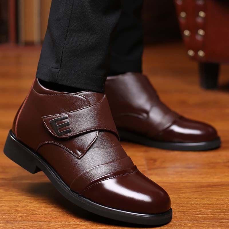 Mens Winter Boots Warm Fur Lining Loafers  Dress Formal Leather shoes Ske15