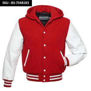 Varsity Letterman bomber jacket-Black Wool Body SCARLET RED Leather Sleeves