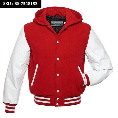 SCARLET Red Wool HOOD Varsity Letterman Bomber Jacket* White Pure Leather Sleeve