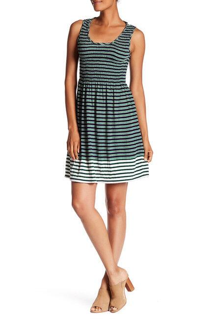 ce07ff0d262 STUDIO - Women s Striped Fit   Flare Dress Green Navy (Sz XS) MAX ...