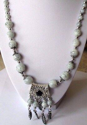 Knowledgeable Parure Bijou Rétro Collier Boucles D'oreilles Couleur Argent Perle Marbrée 529 Jewelry & Watches