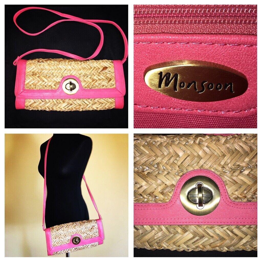 monsoon peach / pink straw gold buckle bag VGC hand bag shoulder bag