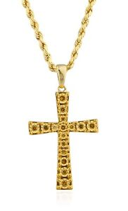 10K-Gold-20-Cttw-Yellow-Diamond-Cross-Pendant-amp-10K-24-Inch-Rope-Chain-Necklace
