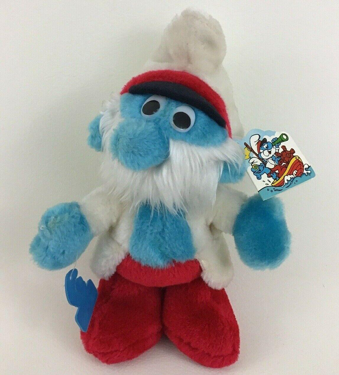 Vintage Sea Captain Papa Smurf 10  Plush Plush Plush Toy Wallace Berrie Peyo 1983 with Tags 07971b